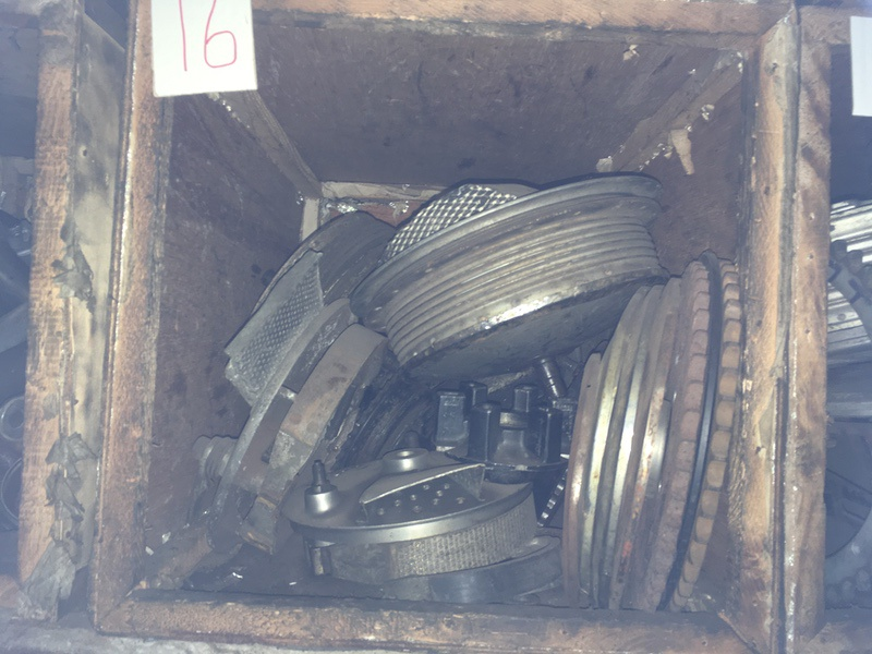 Tea Chest 16. Front wheel hubs, rear sprockets and plates